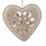 Декор Сердце из фарфора белое кружевное со стразами d10,5x3cm
